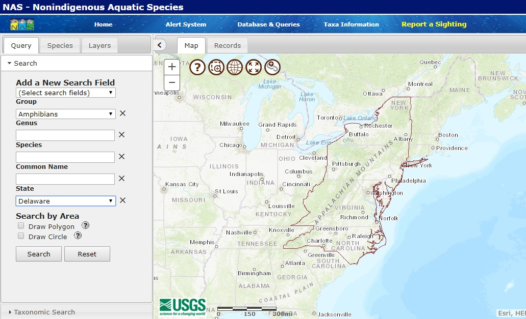 USGS NAS in the Mid-Atlantic
